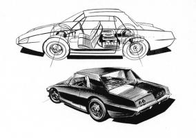 Прикрепленное изображение: 1960 IDEA Mustang Coupe Concept See-Thru Line-Art & Sketch B&W.jpg